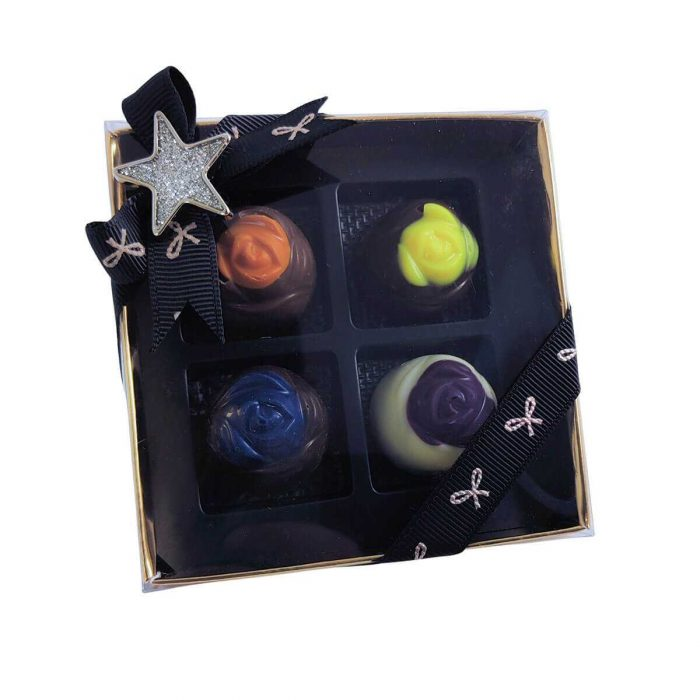 Assorted Ganache Chocolate Roses Gift Box, 4 Pieces
